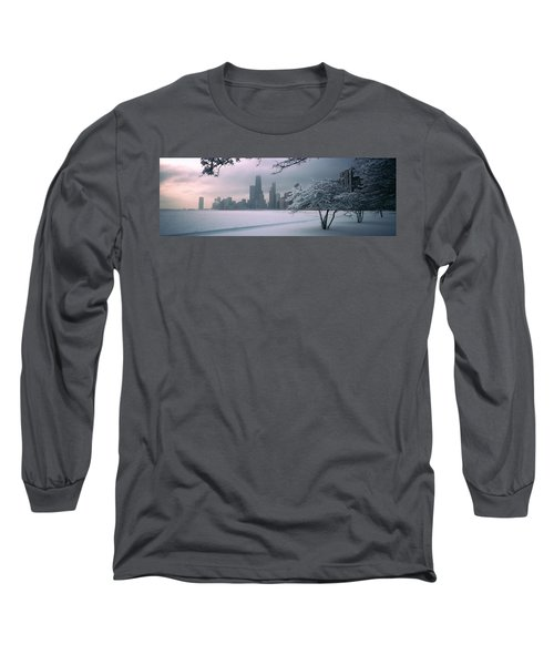 Snow Covered Tree On The Beach Long Sleeve T-Shirt