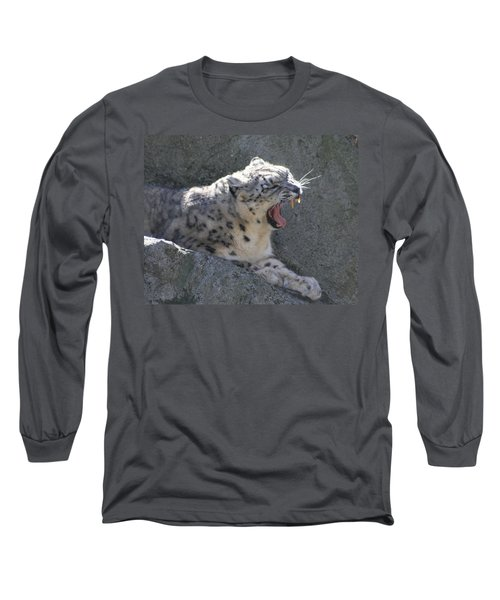 Snow Leopard Yawn Long Sleeve T-Shirt by Neal Eslinger