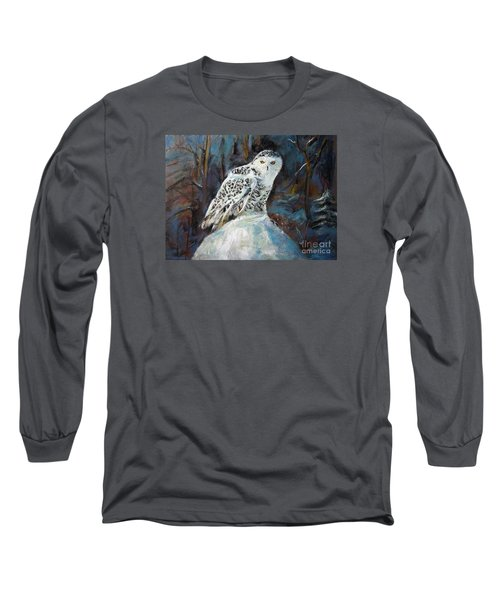 Long Sleeve T-Shirt featuring the painting Snow Owl by Jieming Wang