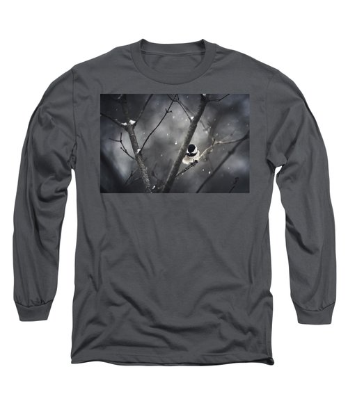 Snowy Chickadee Long Sleeve T-Shirt