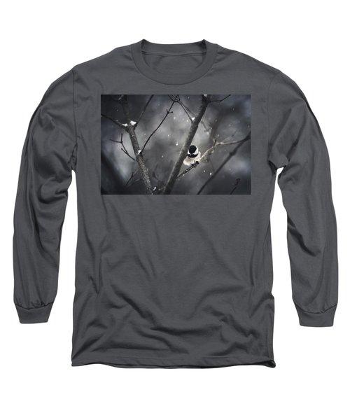 Snowy Chickadee Long Sleeve T-Shirt by Shane Holsclaw