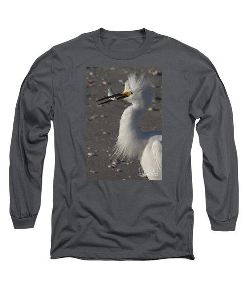 Snowy Egret Fishing Long Sleeve T-Shirt by Meg Rousher