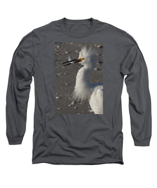 Snowy Egret Fishing Long Sleeve T-Shirt
