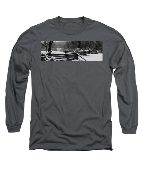 Long Sleeve T-Shirt featuring the photograph Snowy Fence by Michael Porchik