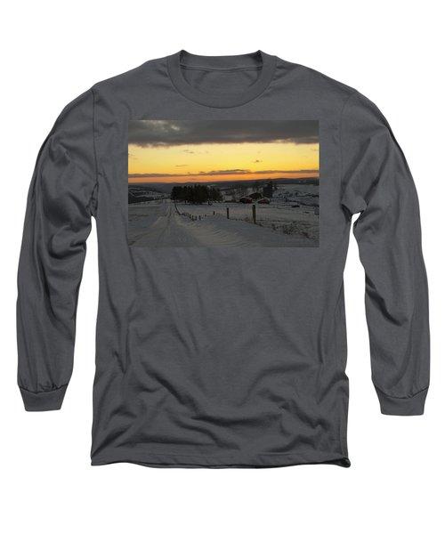 Snowy Pennsylvania Sunset Long Sleeve T-Shirt