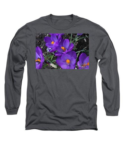 Long Sleeve T-Shirt featuring the photograph Soft Purple Crocus by Judy Palkimas