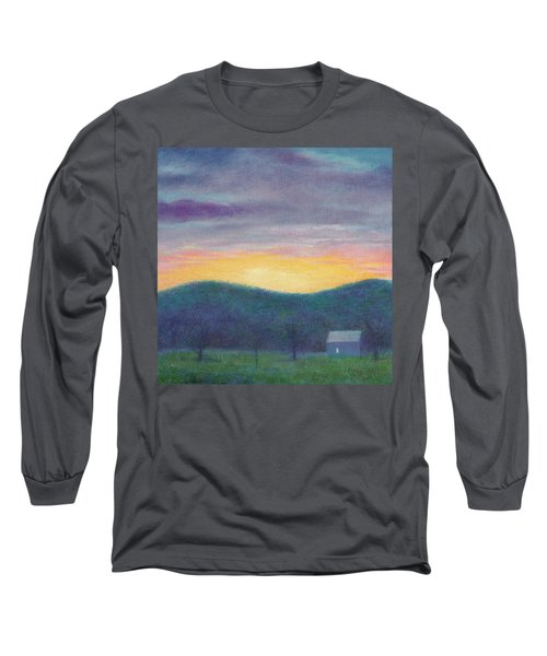 Long Sleeve T-Shirt featuring the painting Blue Yellow Nocturne Solitary Landscape by Judith Cheng