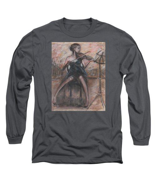 Long Sleeve T-Shirt featuring the painting Solo Concerto by Jarmo Korhonen aka Jarko