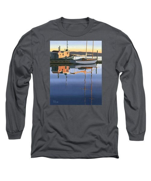 Long Sleeve T-Shirt featuring the painting South Harbour Reflections by Gary Giacomelli