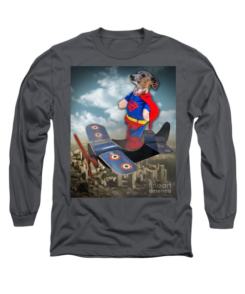 Long Sleeve T-Shirt featuring the digital art Speedolini Flying High by Kathy Tarochione