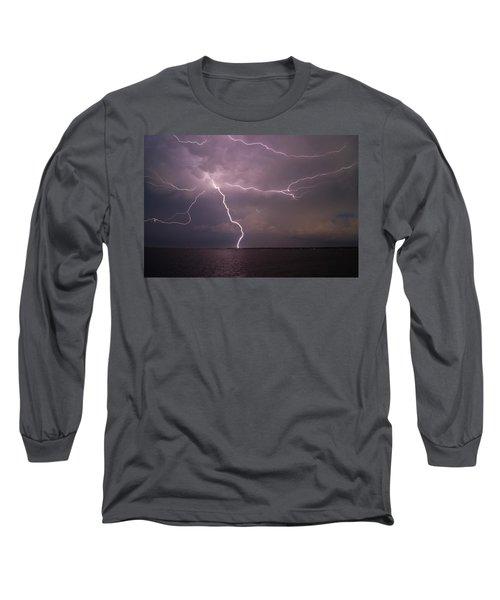 Spider Lightning Over Charleston Harbor Long Sleeve T-Shirt