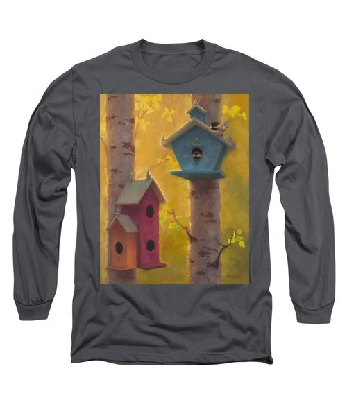 Spring Chickadees 2 - Birdhouse And Birch Forest Long Sleeve T-Shirt by Karen Whitworth