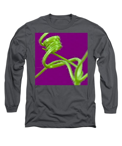 Long Sleeve T-Shirt featuring the photograph Squash Tendril Macro by Sandra Foster