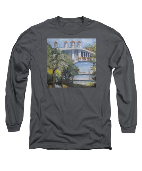 St Augustine Bridge Of Lions Long Sleeve T-Shirt by Mary Hubley
