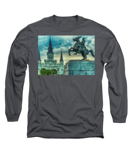 St. Louis Cathedral And Andrew Jackson- Artistic Long Sleeve T-Shirt