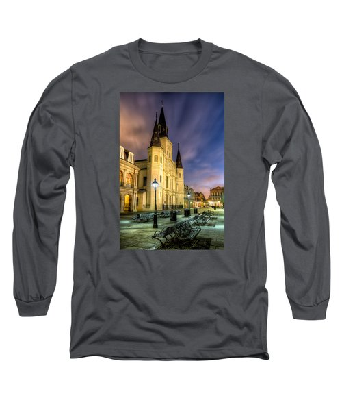 Long Sleeve T-Shirt featuring the photograph St. Louis Cathedral At Dawn by Tim Stanley