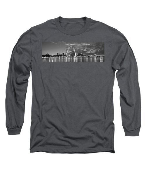 Long Sleeve T-Shirt featuring the photograph St. Louis Skyline At Dusk Gateway Arch Black And White Bw Panorama Missouri by Jon Holiday