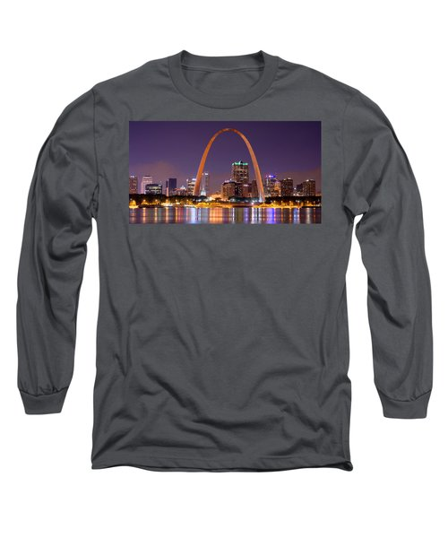 St. Louis Skyline At Night Gateway Arch Color Panorama Missouri Long Sleeve T-Shirt