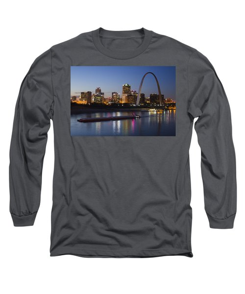 St Louis Skyline With Barges Long Sleeve T-Shirt by Garry McMichael