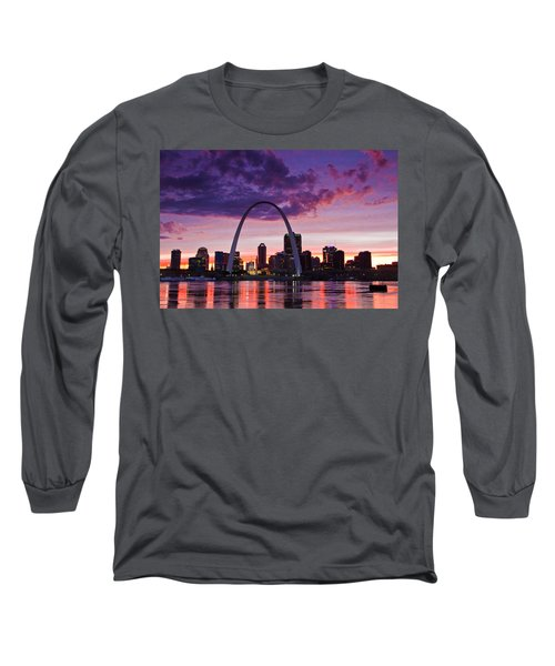St Louis Sunset Long Sleeve T-Shirt by Garry McMichael
