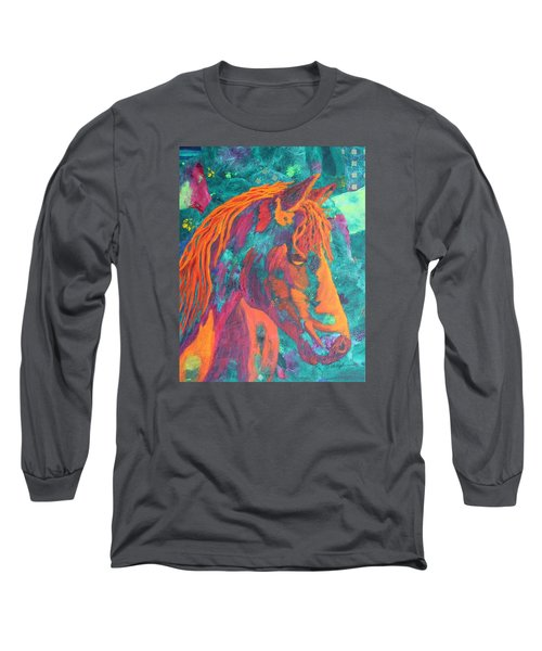 Long Sleeve T-Shirt featuring the painting Stable Master by Nancy Jolley