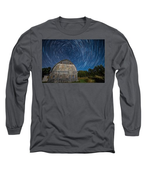 Star Trails Over Barn Long Sleeve T-Shirt by Paul Freidlund