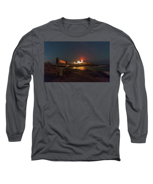 Starry Skies Over Nubble Lighthouse  Long Sleeve T-Shirt