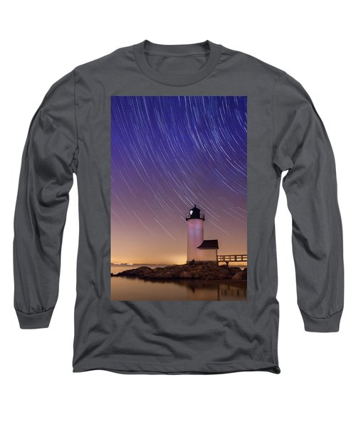 Long Sleeve T-Shirt featuring the photograph Stars Trailing Over Lighthouse by Jeff Folger