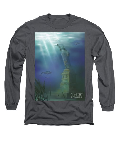 Statue Of Liberty Under Water Long Sleeve T-Shirt