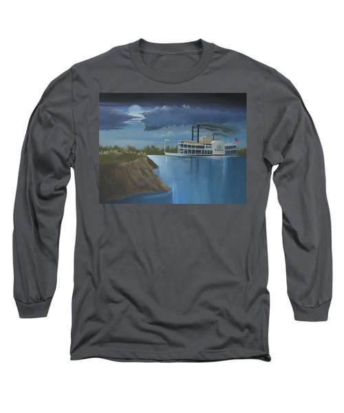 Steamboat On The Mississippi Long Sleeve T-Shirt by Stuart Swartz