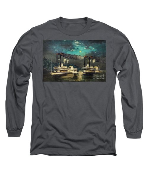 Long Sleeve T-Shirt featuring the digital art Steamboat Racing On The Mississippi by Lianne Schneider