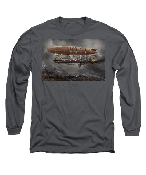 Steampunk - Blimp - Airship Maximus  Long Sleeve T-Shirt by Mike Savad
