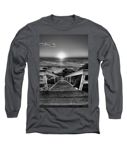 Steps To The Sun  Black And White Long Sleeve T-Shirt by Peter Tellone