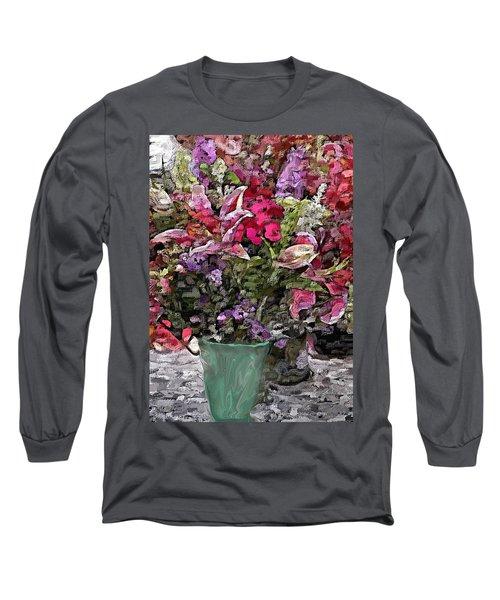 Long Sleeve T-Shirt featuring the digital art Still Life Floral by David Lane