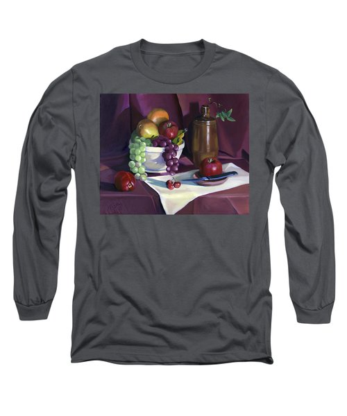 Long Sleeve T-Shirt featuring the painting Still Life With Apples by Nancy Griswold