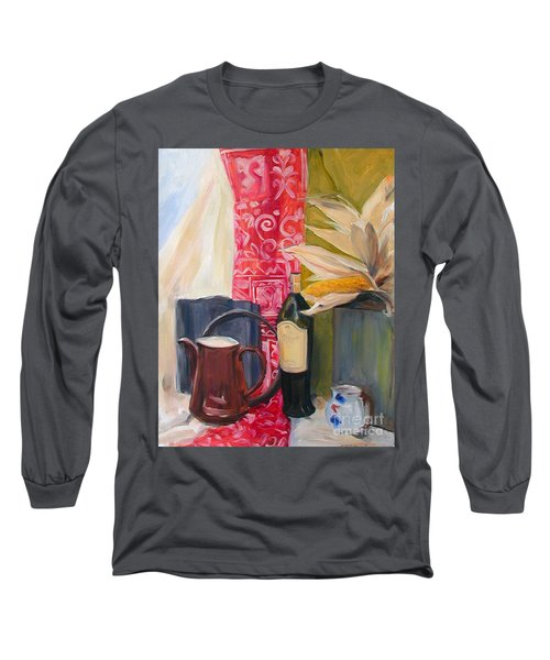 Still Life With Red Cloth And Pottery Long Sleeve T-Shirt by Greta Corens