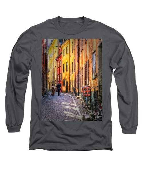 Stockholm Gamla Stan Painting Long Sleeve T-Shirt