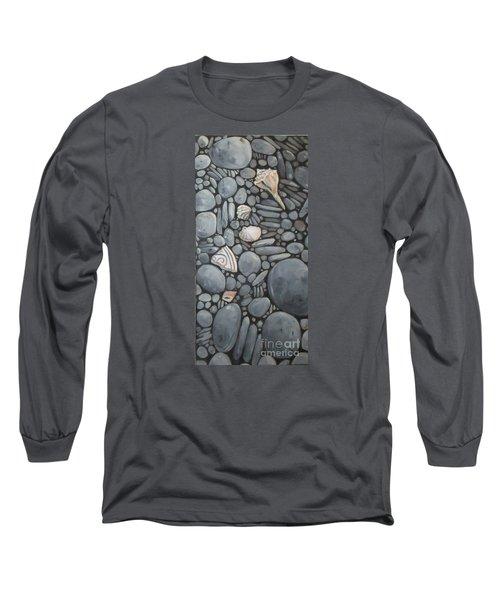 Stone Beach Keepsake Rocky Beach Shells And Stones Long Sleeve T-Shirt by Mary Hubley