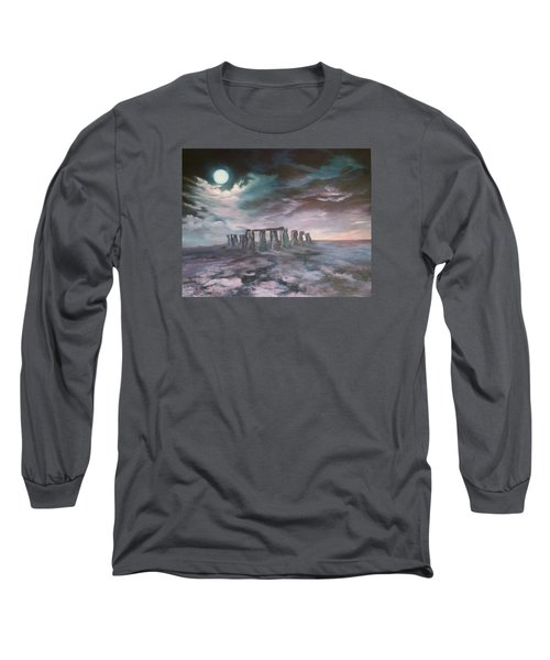 Long Sleeve T-Shirt featuring the painting Stonehenge In Wiltshire by Jean Walker