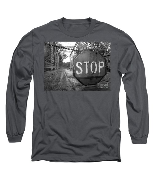 Stop Sign Long Sleeve T-Shirt by Michael Krek