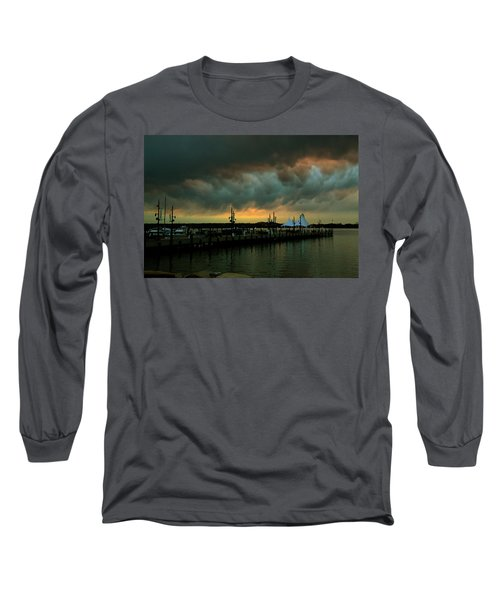Storm Over National Harbor Oil Long Sleeve T-Shirt