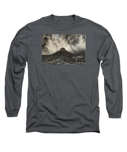 Long Sleeve T-Shirt featuring the painting Storm Over St Michaels Mount Cornwall by Jean Walker