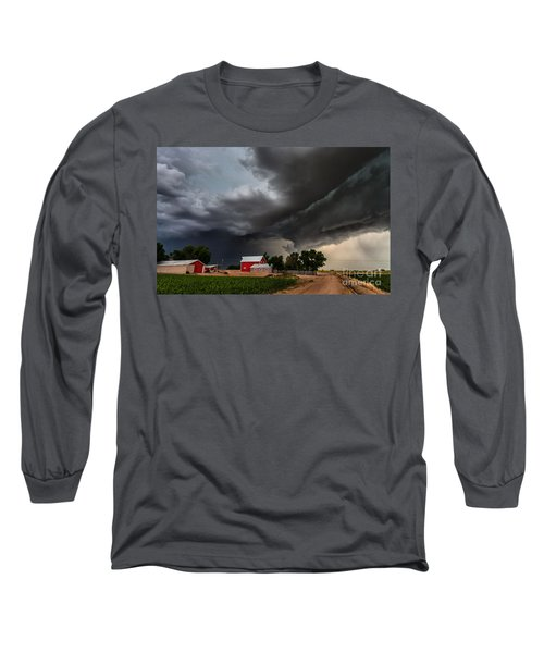 Storm Over The Farm Long Sleeve T-Shirt by Steven Reed