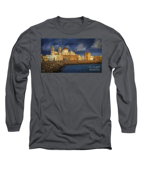 Stormy Skies Over The Cathedral Cadiz Spain Long Sleeve T-Shirt by Pablo Avanzini
