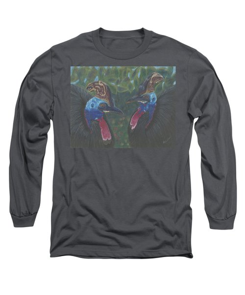 Long Sleeve T-Shirt featuring the drawing Strange Birds by Arlene Crafton