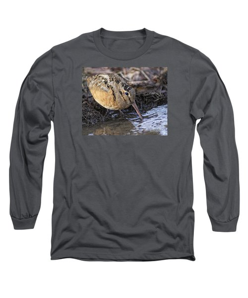 Streamside Woodcock Long Sleeve T-Shirt by Timothy Flanigan