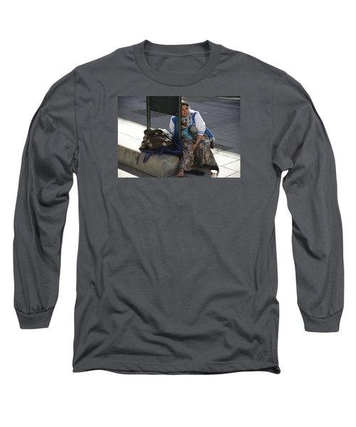 Long Sleeve T-Shirt featuring the photograph Street People - A Touch Of Humanity 10 by Teo SITCHET-KANDA