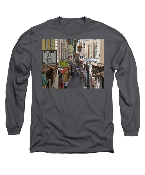 Long Sleeve T-Shirt featuring the photograph Street Scene In Antibes by Allen Sheffield