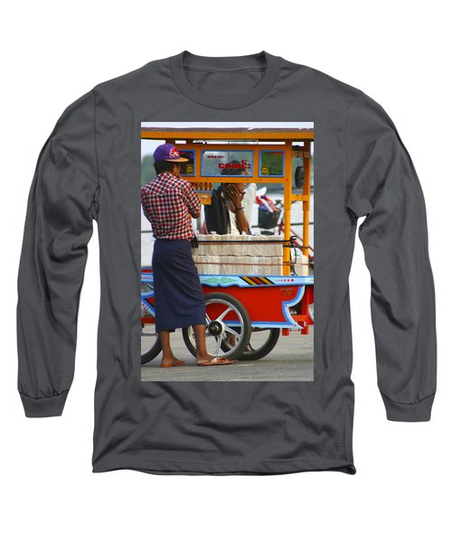 Street Seller At The Foreshore Of The Yangon River Yangon Myanmar Long Sleeve T-Shirt