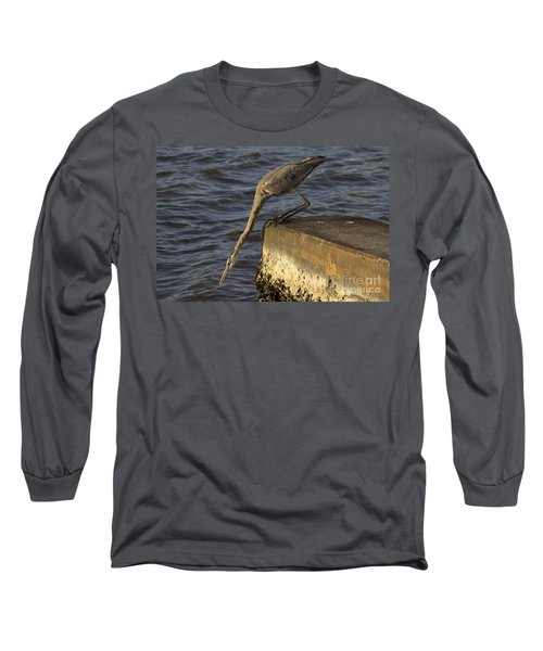 Long Sleeve T-Shirt featuring the photograph Stretch - Great Blue Heron by Meg Rousher